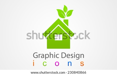 Ecology House Graphic Design - stock vector