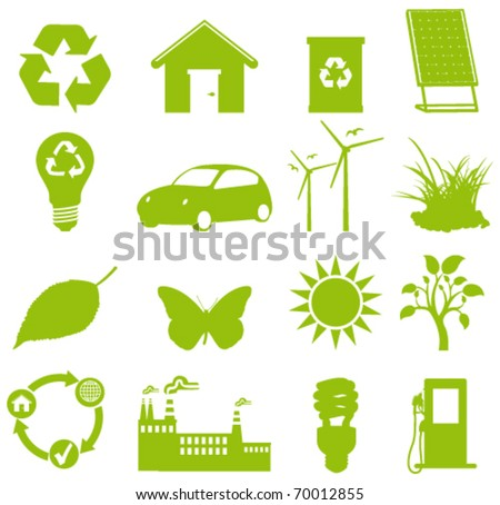 Ecology icon. green all the way - stock vector