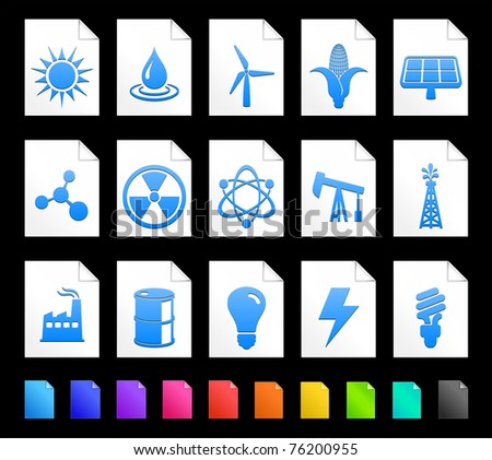 Ecology Icon on Document Icon Collection Original Illustration - stock vector