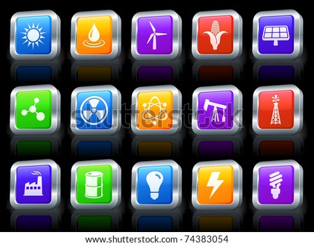 Ecology Icon on Square Button with Metallic Rim Collection Original Illustration - stock vector