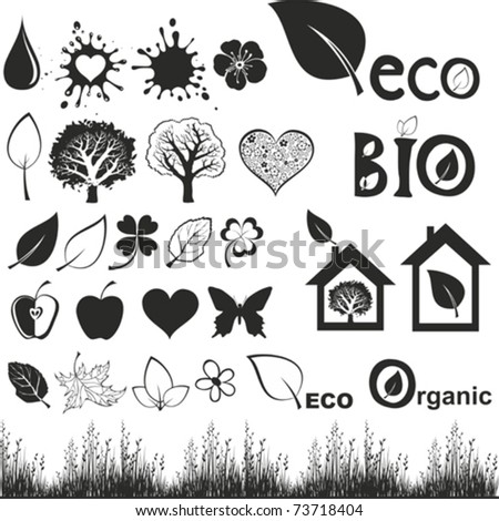 ecology icon set.  Isolated On White Background, Vector Illustration - stock vector