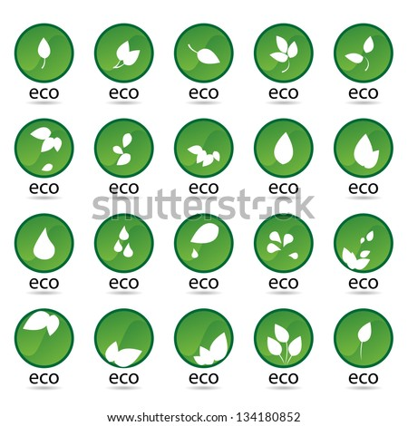 Ecology Icon - Set - Isolated On White Background. Vector illustration, Graphic Design Editable For Your Design. Eco Logo - stock vector