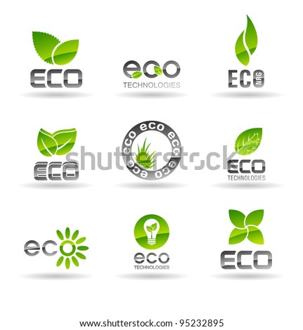 Ecology icon set (number 2). Eco-icons. - stock vector