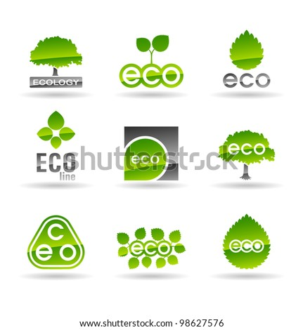 Ecology icon set (number 3). Eco-icons. - stock vector