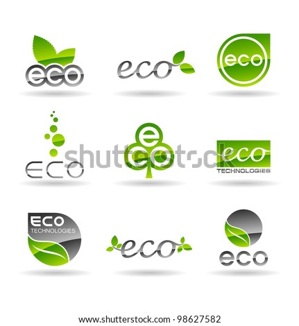 Ecology icon set (number 4). Eco-icons. - stock vector