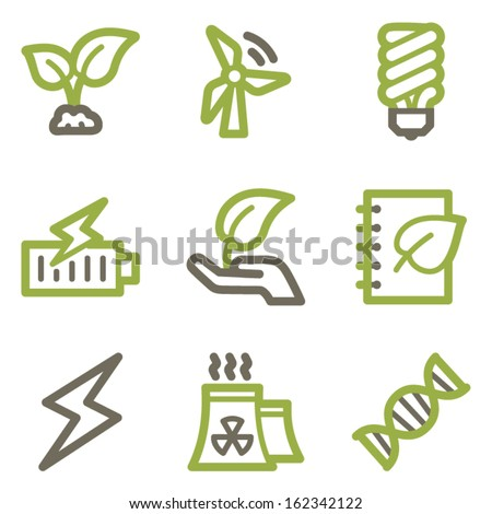 Ecology icons, green line contour series - stock vector