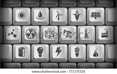 Ecology Icons on Gray Computer Keyboard Buttons Original Illustration - stock vector