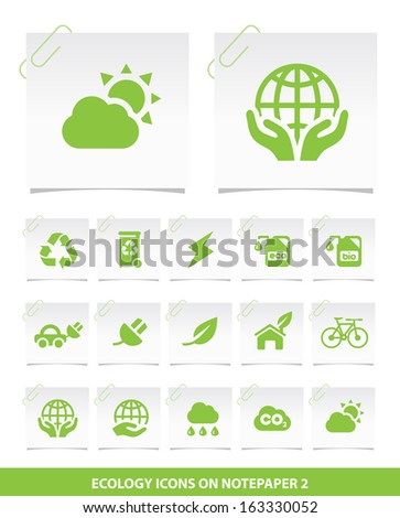 Ecology Icons on Notepaper 2. - stock vector