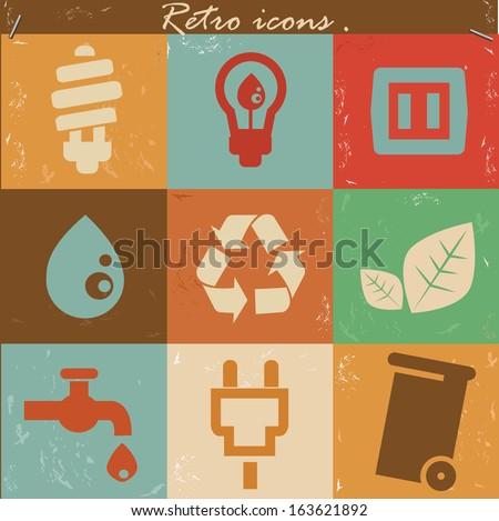 Ecology icons,Retro style,vector - stock vector