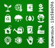 Ecology icons set 02. Deep Green series - stock vector