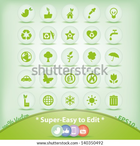 Ecology icons set. Green Environment Symbols.