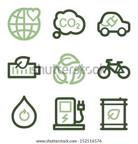Ecology icons set 4, green line contour series - stock vector