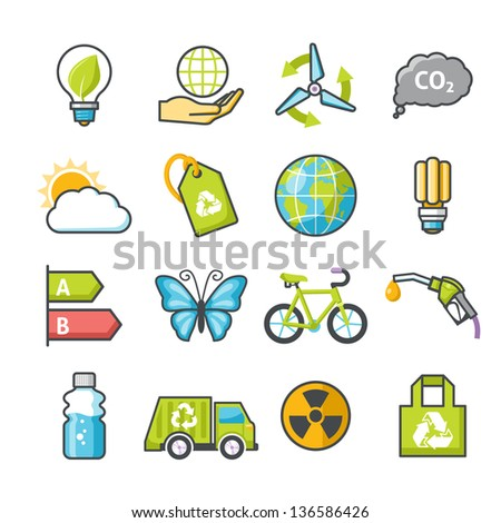 Ecology icons set 03. Happy series - stock vector