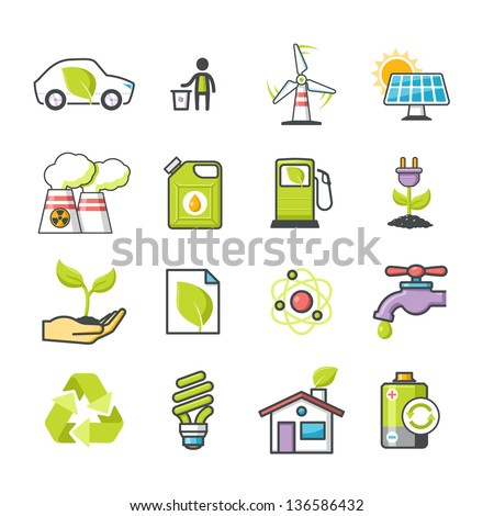 Ecology icons set 01. Happy series - stock vector