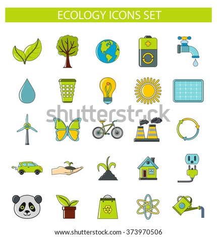 Ecology icons set in cartoon style in white background