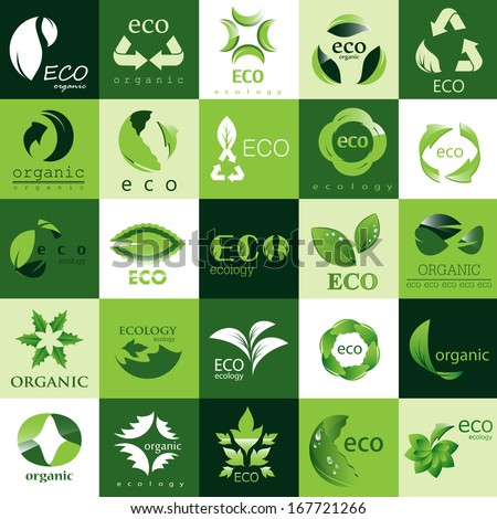 Ecology Icons Set - Isolated On Background - Vector illustration, Graphic Design, Editable For Your Design. - stock vector