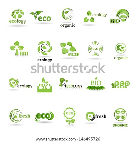 Ecology Icons Set  - Isolated On White Background - Vector illustration, Graphic Design Editable For Your Design. Ecology Logo - stock vector