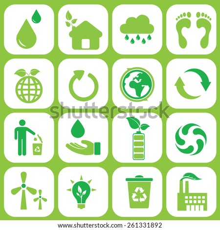 Ecology icons set on green  - stock vector