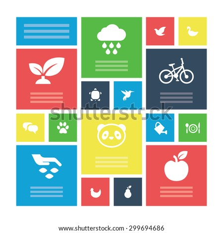 ecology icons universal set for web and mobile