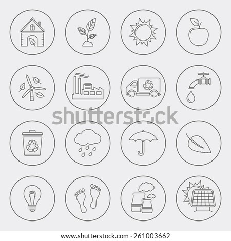 Ecology icons with circle line - stock vector