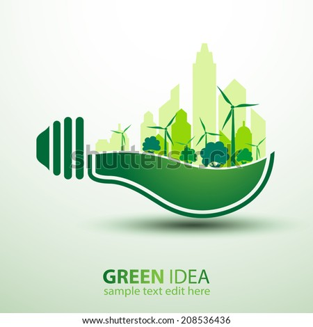 Ecology idea green bulb with city vector illustration - stock vector