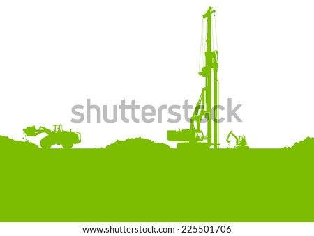 Ecology industrial construction site vector background illustration card concept - stock vector
