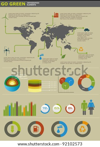 Ecology info graphics collection, charts, symbols, graphic vector elements - stock vector