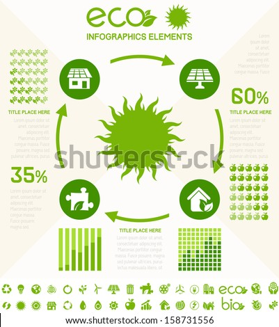 Ecology InfogFlat Infographic Elements. Opportunity to Highlight any Country on the World Map. Vector Illustration EPS 10. - stock vector
