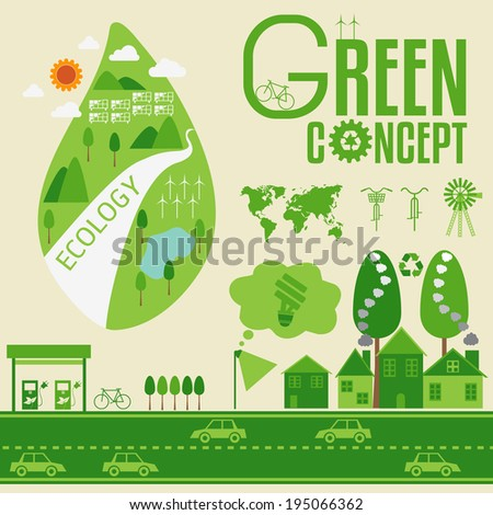 Ecology Infographic and green concept - stock vector