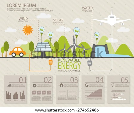 ecology infographic elements, Can be used for workflow layout, banner, diagram, web design, timeline, info chart, statistic  brochure template. vector illustration - stock vector