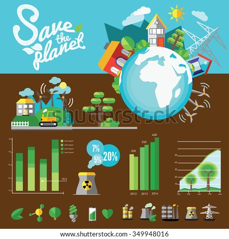Ecology Infographic flat icon, vector illustration eps 10