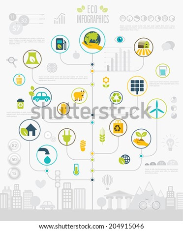 Ecology Infographic set with charts and icons. - stock vector