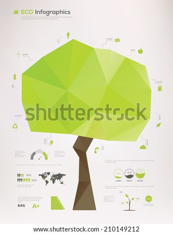 Ecology Infographic, tree concept. Vector Illustration - stock vector