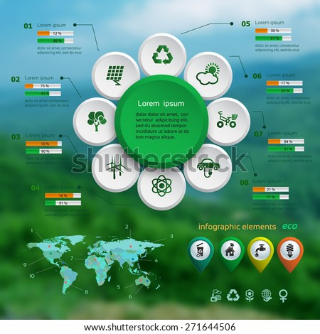 Ecology infographic with map on the blurred photo background , web design, vector illustration