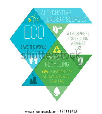 Ecology infographics, charts, symbols, graphic vector elements - stock vector