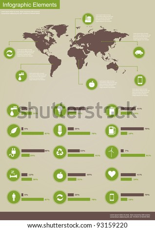Ecology infographics collection, charts, symbols, graphic vector elements - stock vector