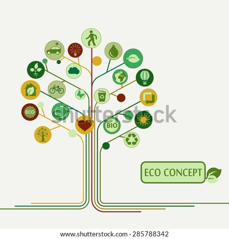 Ecology infographics elements, icons on a  tree concept, bio, organic, vector illustration - stock vector