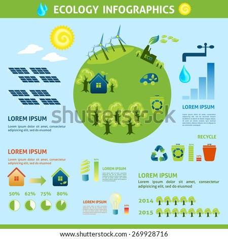 Ecology infographics set with green planet eco energy symbols and charts vector illustration - stock vector