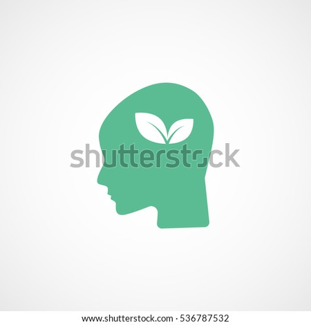 Ecology Leaf In Head Green Flat Icon On White Background