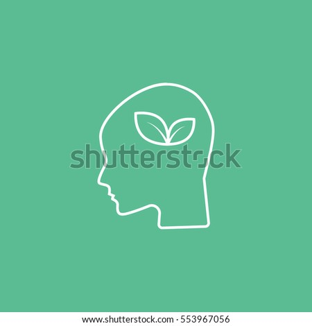 Ecology Leaf In Head Line Icon On Green Background
