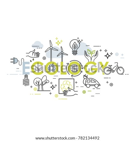 Ecology lifestyle, green energy, recycle. Vector template in linear style for your design
