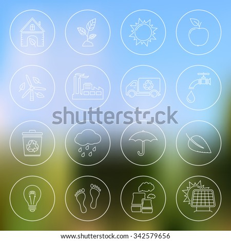 Ecology linear icons on blurred background