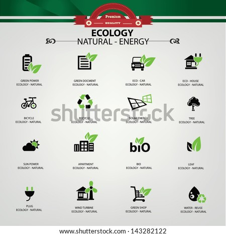 Ecology,Natural energy icons,vector - stock vector