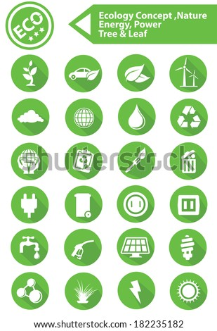 Ecology,Nature,Energy Icons,Green version,vector - stock vector