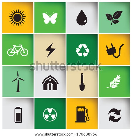 Ecology & Nature icons,vector - stock vector