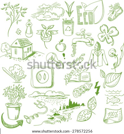 Ecology organic signs eco and bio elements in hand drawn style nature planet protection care recycling save concept.