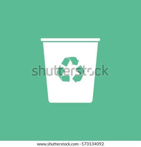 Ecology Plastic Cup With Recycle Sign Flat Icon On Green Background