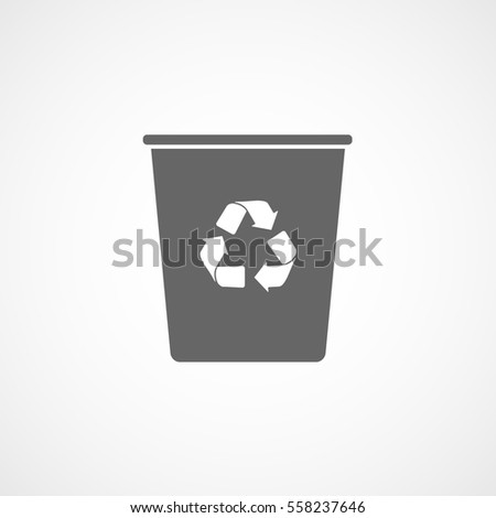 Ecology Plastic Cup With Recycle Sign Flat Icon On White Background