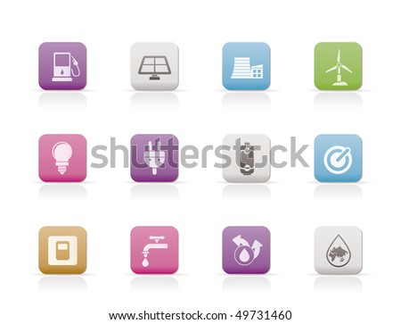 Ecology, power and energy icons - vector icon set - stock vector