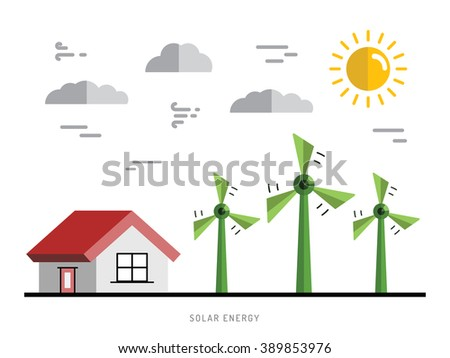 Ecology power concept. New energy type. Alternative energy. Alternative wind energy station. New eco energy vector illustration. Global wind day 15 jun.?nergy concept outline. Alternative energy type. - stock vector